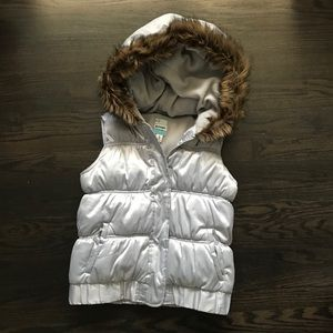 Old Navy Silver Puffer Vest with Fur Trim Hood